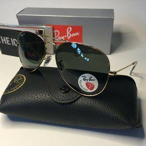 Ray Ban RB3025 Aviator Gold/Green Sunglasses